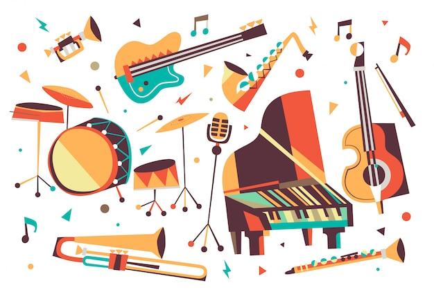 Instrumentos de jazz de dibujos animados
