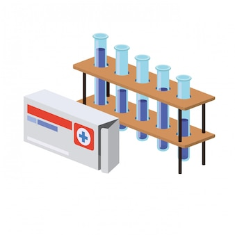 Instrumentos de laboratorio en blanco