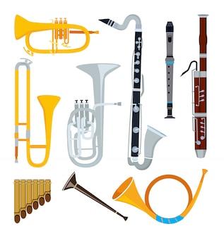 Instrumentos musicales aislados en estilo de dibujos animados