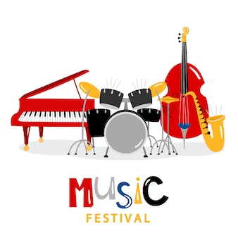 Instrumentos musicales en blanco