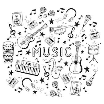 Instrumentos musicales dibujados a mano en estilo garabatos