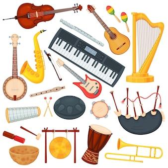 Instrumentos musicales de dibujos animados, elementos musicales de orquesta clásica. saxofón, trombón, arpa, bongo drum, conjunto de vectores de instrumentos de jazz de guitarra acústica
