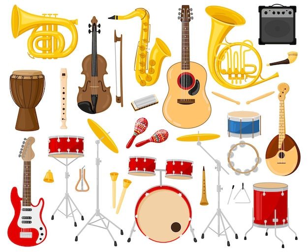 Instrumentos musicales de dibujos animados. instrumentos acústicos y eléctricos, guitarras, tambores, saxofón, violín conjunto de ilustraciones vectoriales. instrumentos de banda musical