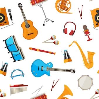Instrumentos musicales de dibujos animados de patrones sin fisuras aislados en la ilustración de fondo