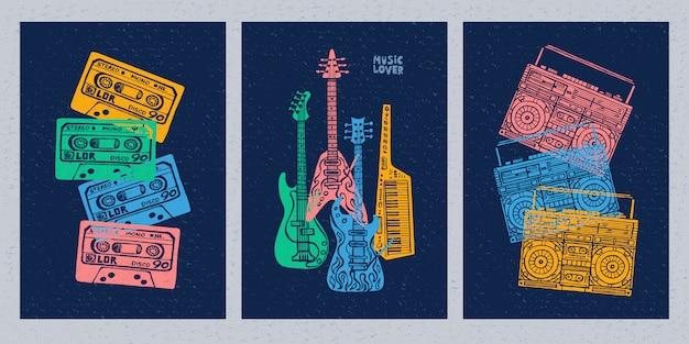 Instrumentos musicales, guitarra eléctrica, bajo, teclados, piano, grabadora, cassette, retro