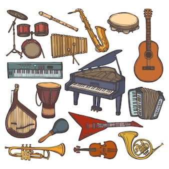 Instrumentos musicales icono de boceto