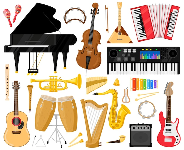 Instrumentos musicales. instrumentos de banda de música de dibujos animados, piano, batería, arpa y símbolos vectoriales de sintetizador. orquesta o instrumento de música clásica.