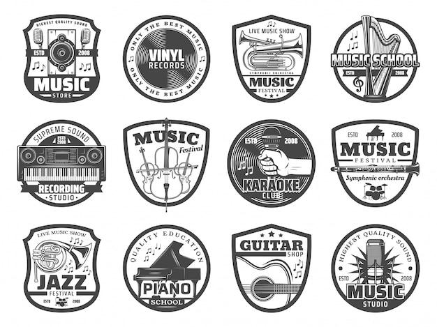 Instrumentos musicales, micrófonos, discos de vinilo.