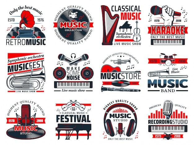 Instrumentos musicales, micrófonos de estudio de grabación.