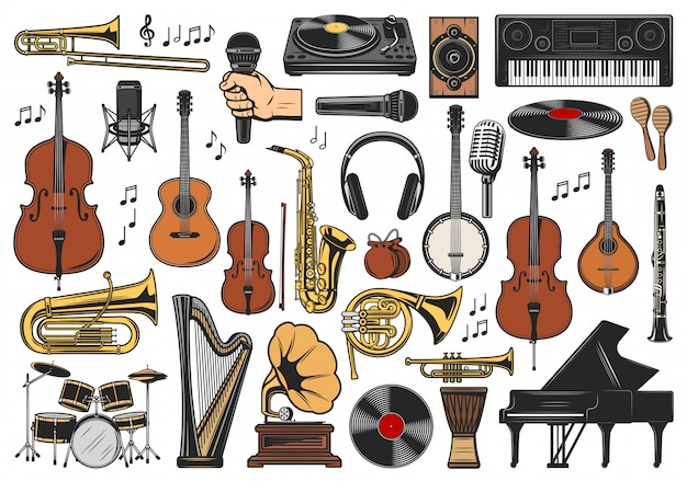 Instrumentos musicales, notas musicales y equipamiento.