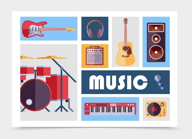 Instrumentos musicales planos con guitarras eléctricas y acústicas, auriculares, subwoofer, audio, altavoz, micrófono, reproductor de vinilo, kit de batería, sintetizador, aislado, ilustración
