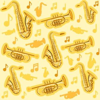 Instrumentos musicales de saxofón y patrón de corneta.