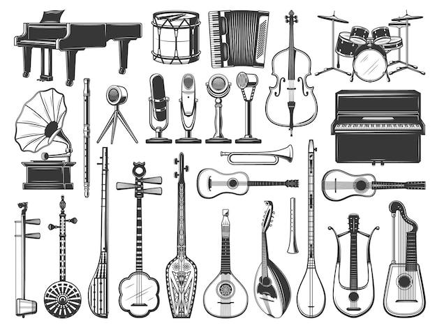 Instrumentos musicales tambor, violín, guitarra y piano.