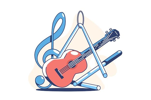 Instrumentos musicales para tocar la ilustración de estilo plano