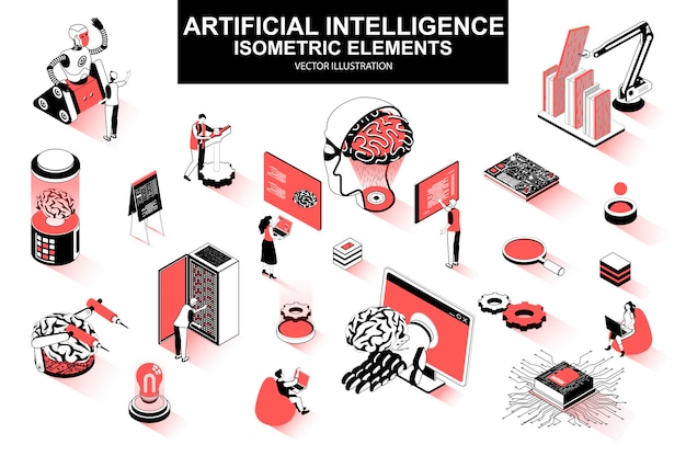 Inteligencia artificial 3d elementos de línea isométrica.
