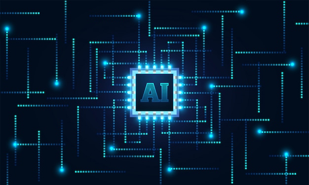 Inteligencia artificial (ai) chip y líneas digitales.