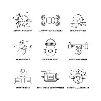 Inteligencia artificial ai robot iconos de líneas finas