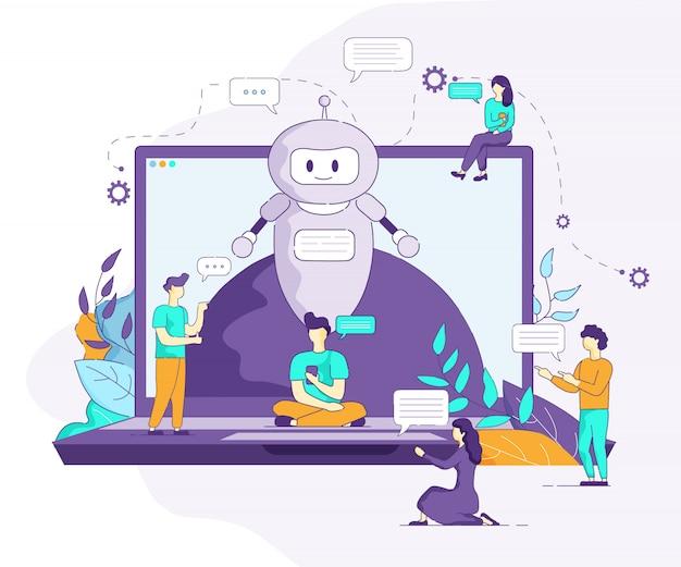 La inteligencia artificial de bot apoya la comunicación