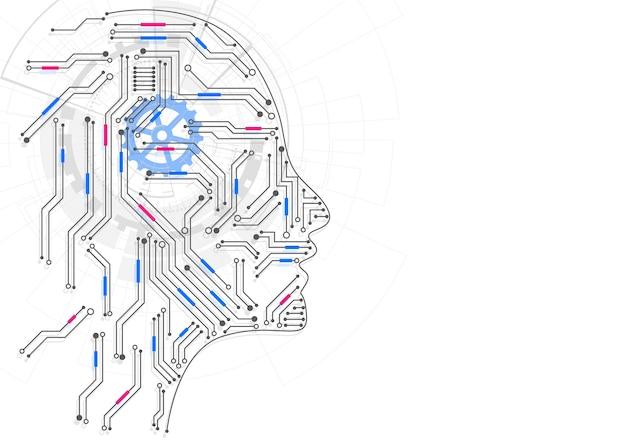 Inteligencia artificial. cabeza humana geométrica abstracta