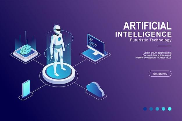 Inteligencia artificial cerebro digital tecnología futurista plana isométrica