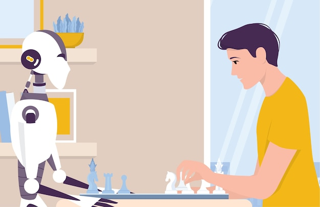 La inteligencia artificial como parte de la rutina humana. robot personal doméstico jugar al ajedrez con el hombre. ai ayuda a las personas en su vida, concepto de tecnología futura. ilustración