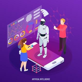 Inteligencia artificial composición isométrica personajes humanos y robot en la pantalla del dispositivo móvil en púrpura