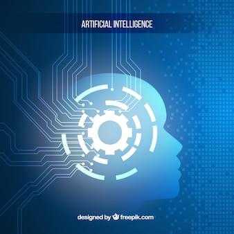 Inteligencia artificial con fondo azul