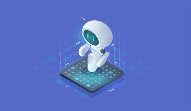 Inteligencia artificial isométrica. fondo de tecnología neuronet o ai con pequeño robot. concepto de bot de chat.