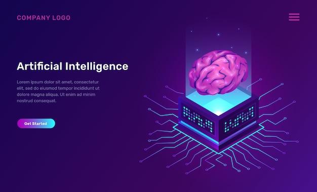 Inteligencia artificial o concepto isométrico ai