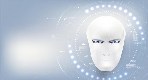 Inteligencia artificial. la página de inicio de fondo de tecnología cyborg masculina blanca representa inteligencia artificial