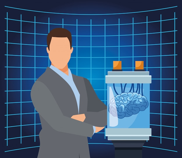 Inteligencia artificial tecnología hombre cerebro humano ciencia conectada