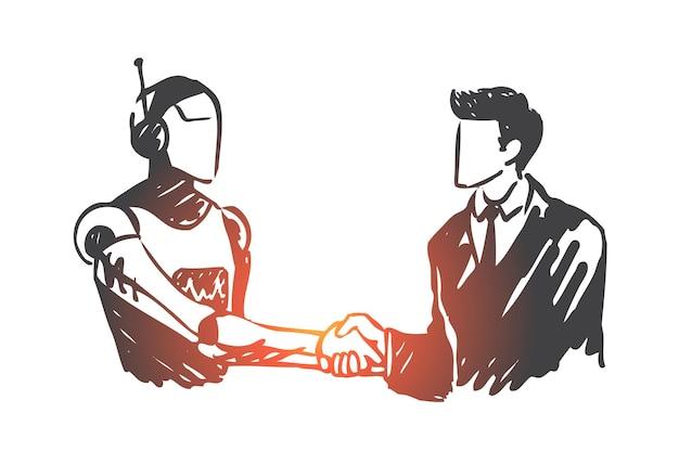 Inteligencia artificial, tecnología, robot, mente, concepto humano. mano humana dibujada estrecharme la mano con el bosquejo del concepto de robot.