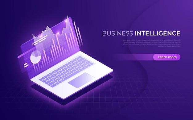 Inteligencia empresarial, rendimiento financiero, concepto isométrico de análisis de datos.