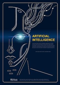 Inteligencia ia la cara del robot conecta el cerebro con grandes datos