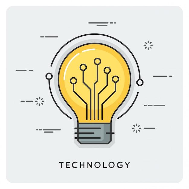 Inteligencia y tecnología. concepto de línea delgada.