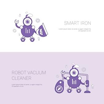 Inteligente plancha y aspiradora robot concept plantilla web banner con espacio de copia