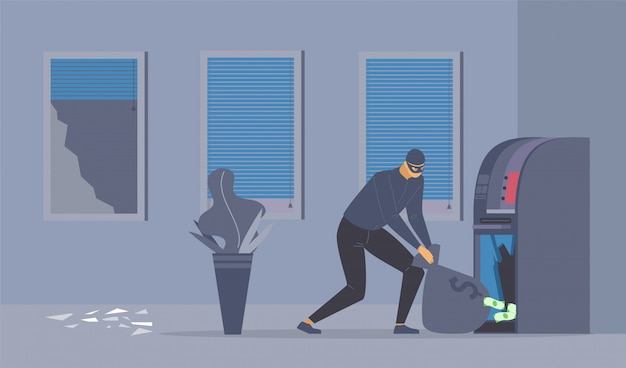 Intento de robo en un banco ilustración plana.