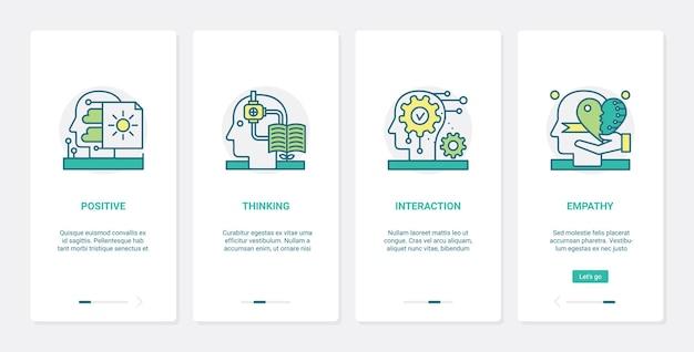 Interacción de pensamiento positivo en psicología, ux, ui onboarding mobile app page screen set