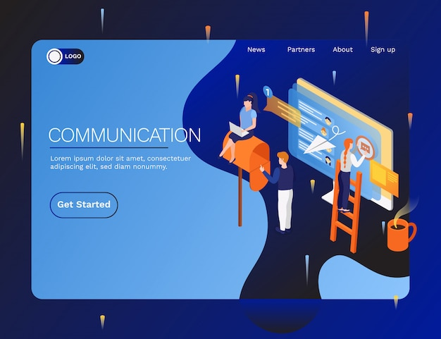 Intercambio de datos e información aparatos electrónicos dispositivos computadoras sistemas de interfaz de comunicación isométrica página de inicio web