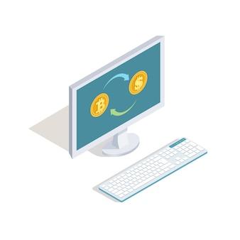Intercambio de dólares por concepto de vector en línea de bitcoins. finanzas isométricas, ilustración de banca por internet