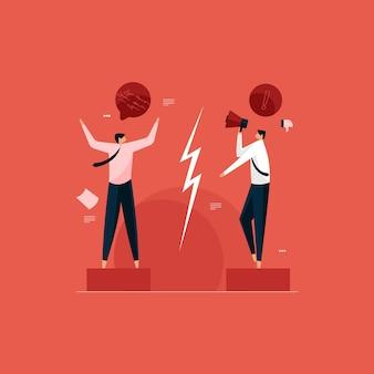 Intercambio de información y comunicación efectiva brecha dos empresarios discutiendo y peleando