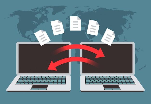 Intercambio de información entre ordenadores. transferencia de archivos, gestión de datos y archivos de copia de seguridad vector concepto