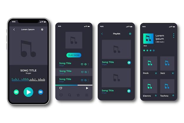 Interfaces de la aplicación del reproductor de música