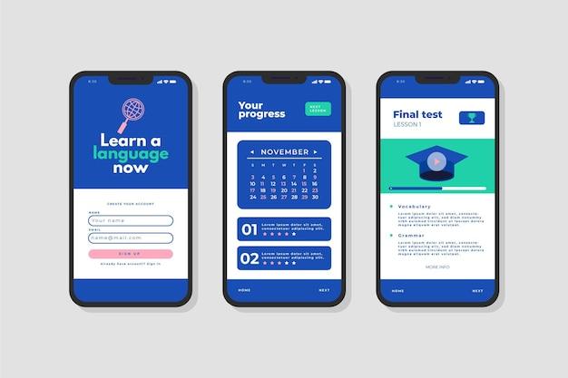 Interfaz de aplicación para aprender un nuevo idioma.