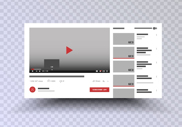 Interfaz de aplicación de canal de video teléfono móvil. redes sociales . suscríbete post maqueta. ilustración