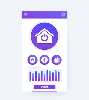 Interfaz de aplicación de casa inteligente, diseño de interfaz de usuario móvil