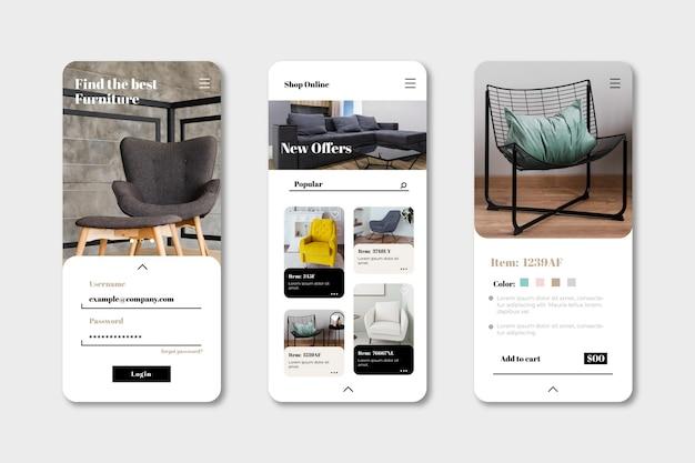 Interfaz de la aplicación de compra de muebles