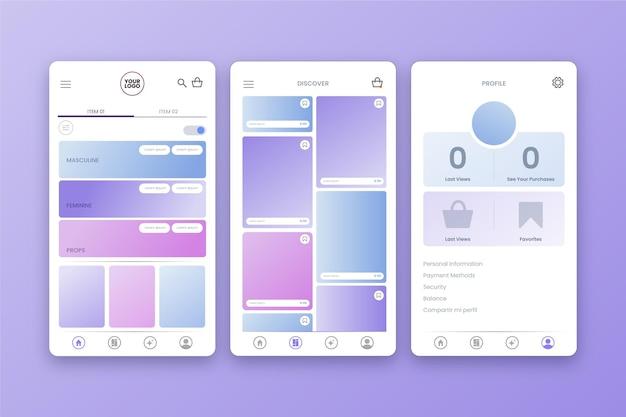 Interfaz de la aplicación de compras de moda