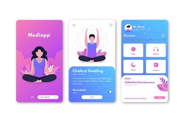Interfaz de la aplicación de meditación