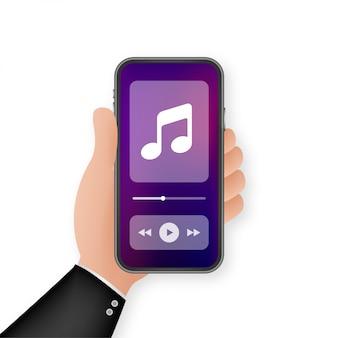 Interfaz de aplicación móvil. reproductor de música. aplicación de música. ilustración.